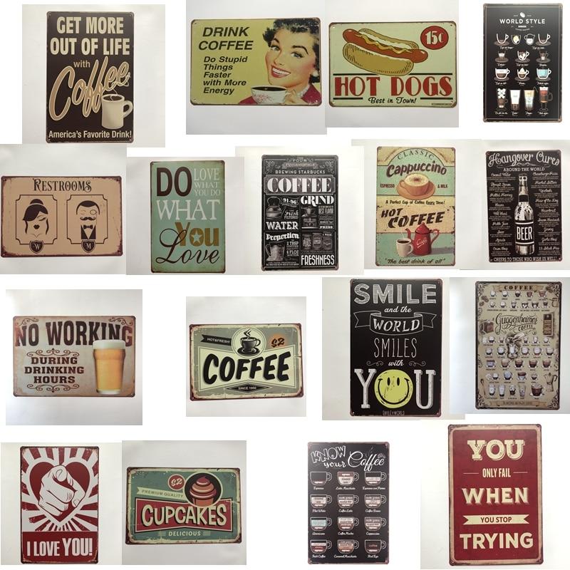 [Luckyaboy] café Vintage Hot Dog sonrisa Cupcake sin trabajo cerveza carteles de Metal arte de la pared pintura Poster Bar Garage café Decoración