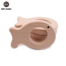 Lets Make-ensemble de jouets anneaux   En bois, poisson, qualité alimentaire, hêtre sans Bpa, pour bébé anneau de dentition