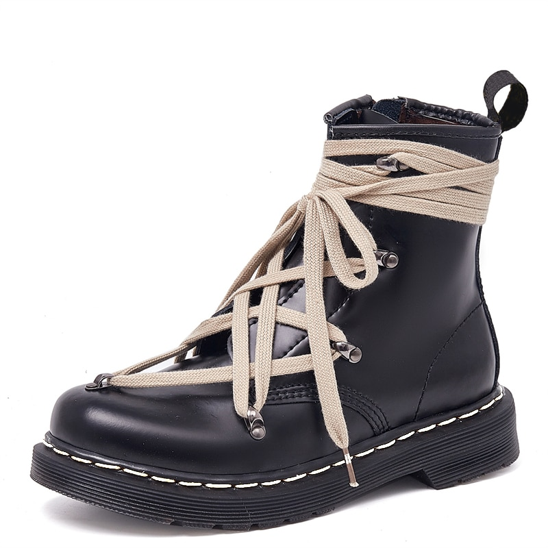 prova perfetto punk style women ankle boots special two kinds of wear rivet studded martin boots lace up genuine leather botas 2021 Genuine Leather Women Boots Lace-up Motorcycle Ankle Boots Female Spring Autumn Winter Shoes Woman Punk Booties Botas Mujer