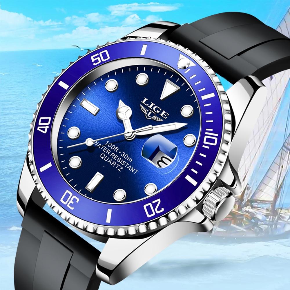 LIGE Top Brand Luxury Fashion Diver Watch Men 30ATM Waterproof Date Clock Sport Watches Mens Quartz