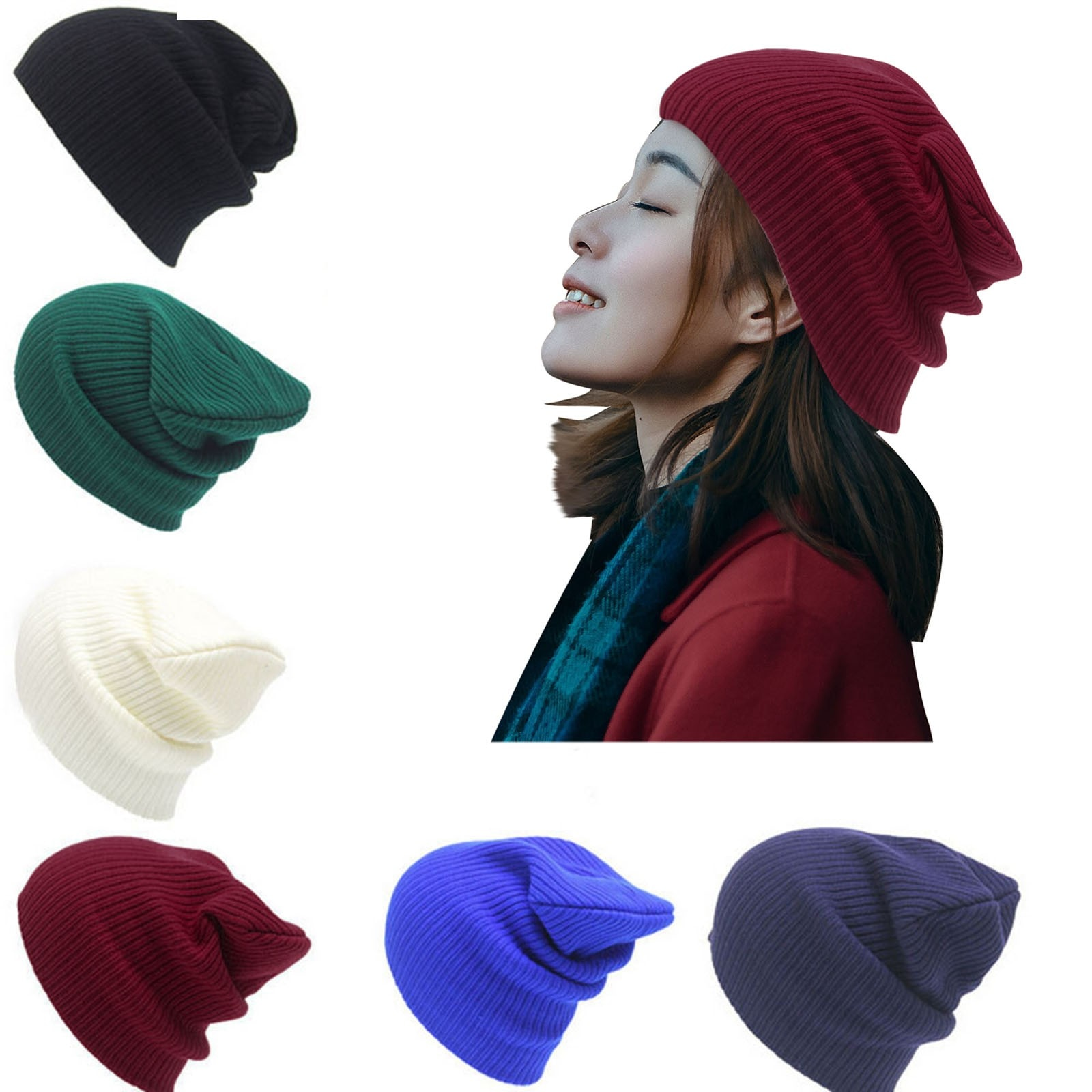 Winter Hat For Women Rabbit Cashmere Knitted Beanies Thick Warm Vogue Ladies Wool Angora Hat Female