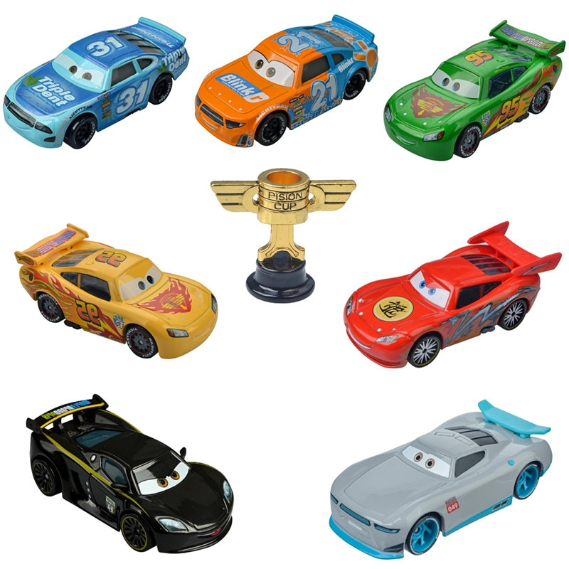 pixar cars jackson storm 1 55 scale mini cars model toys for children christmas gifts figures alloy cars toys high quality Cars Disney Pixar Cars 3 Lightning McQueen Jackson Storm The King Mater 1:55 Diecast Metal Alloy Model Car Toys For Boy Gifts