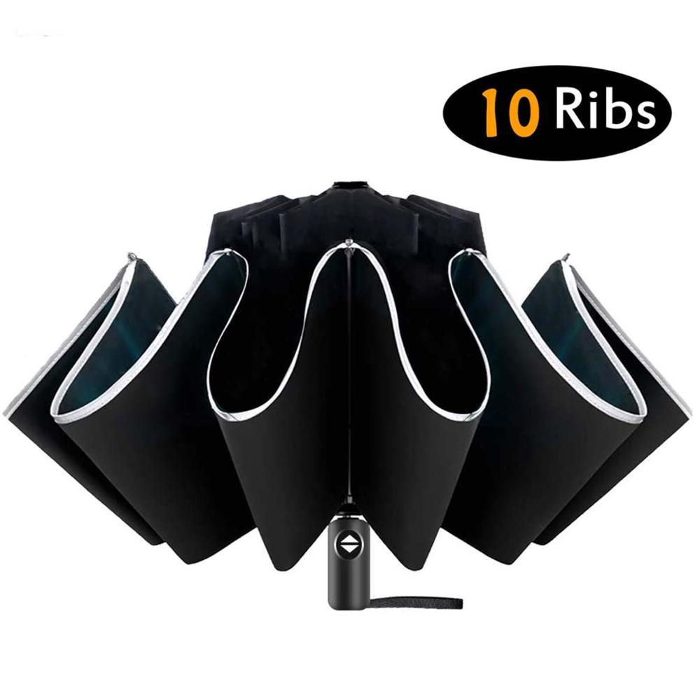 Inverted Umbrella/Travel Portable Windproof Folding Umbrella,10Ribs Auto Open/Close Umbrella,Reflect