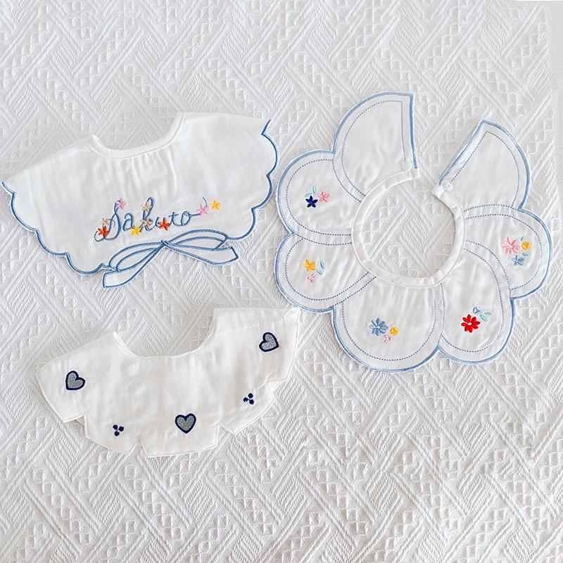 3Pcs/Lot Baby Girl Bibs Tassel Saliva Towel Lace Embroidery Newborn Feeding Apron Boys Bandana Burp Cloths Feeding Fake Collar