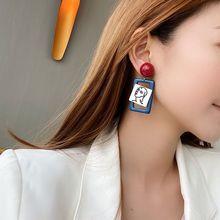 AENSOA 2020 패션 추상 그림 아크릴 기하학 귀걸이 할로우 블루 컬러 드롭 매달려 귀걸이 여성 캐주얼 쥬얼리