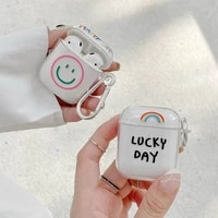 simple smiley rainbow cases for airpods 1 2 pro case transparent soft tpu cute bluetooth earphone charging box for air pods 1 3