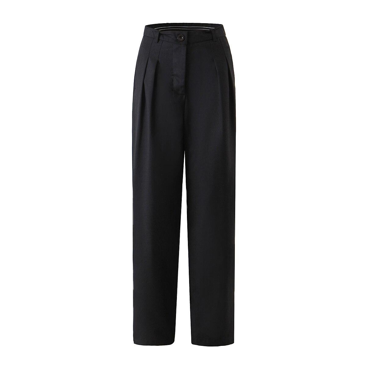 2021 الصيف النساء السراويل المستقيمة Sweatpants عادية بلون عالية الخصر بنطال ذو قصة أرجل واسعة الرجعية طول فضفاض بنطلون أنثى