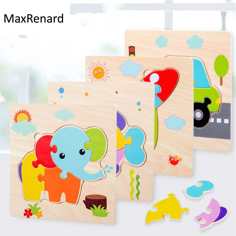 logwood baby wooden toys wooden block 26pcs learning educational toys for children animal words letter learn gifts for baby Children Wooden Jigsaw Puzzle Baby Toys Learning Toys Puzzle 3D Animal Early Educational Wooden Toys for Kids Birthday Gifts