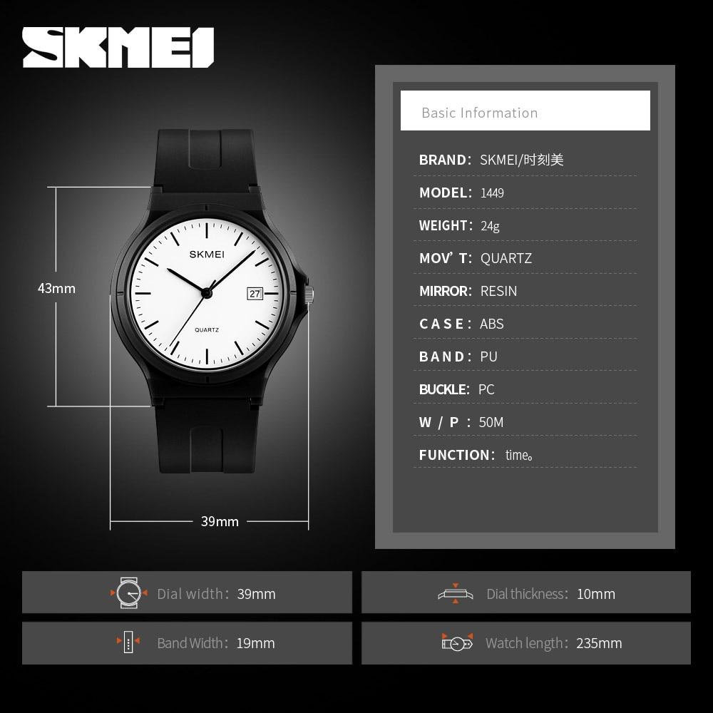 SKMEI Ladies Casual Sports Couple PU Strap Calendar Women Top Luxury Wristwatch Lady Large Dial Relogio Feminino Reloj De Mujer enlarge