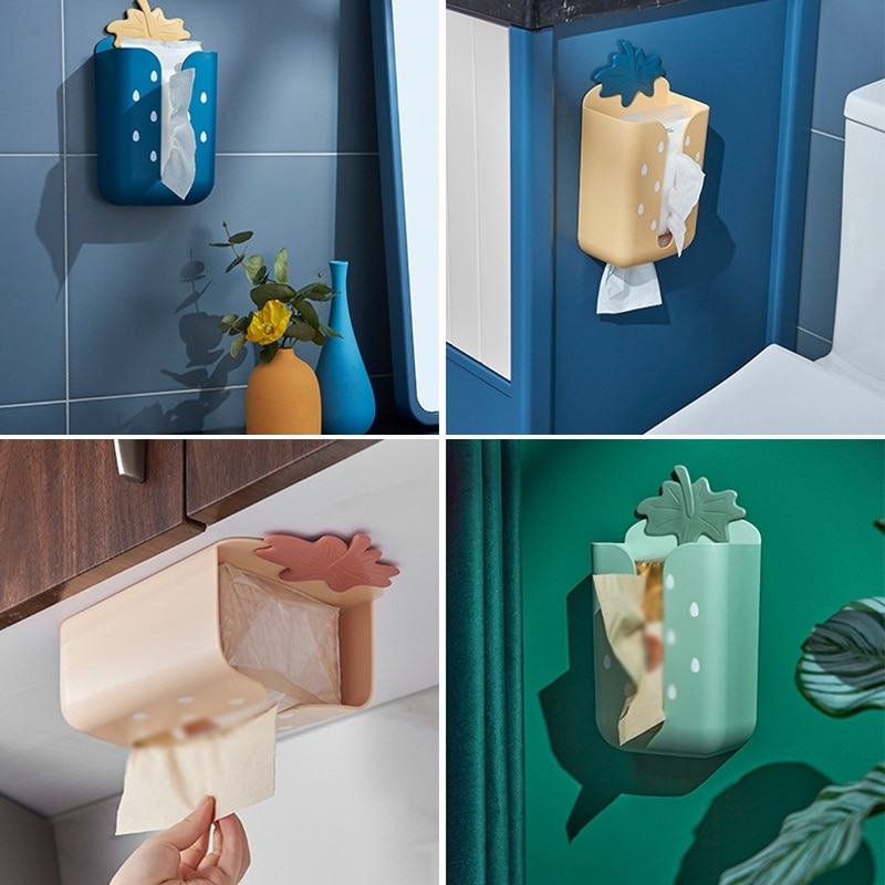 Strawberry Free Punch Wall Hanging Drawer Toilet Storage Box Bathroom Tissue Box Storage Cover Roll Paper Tube Box Home Tools  - buy with discount