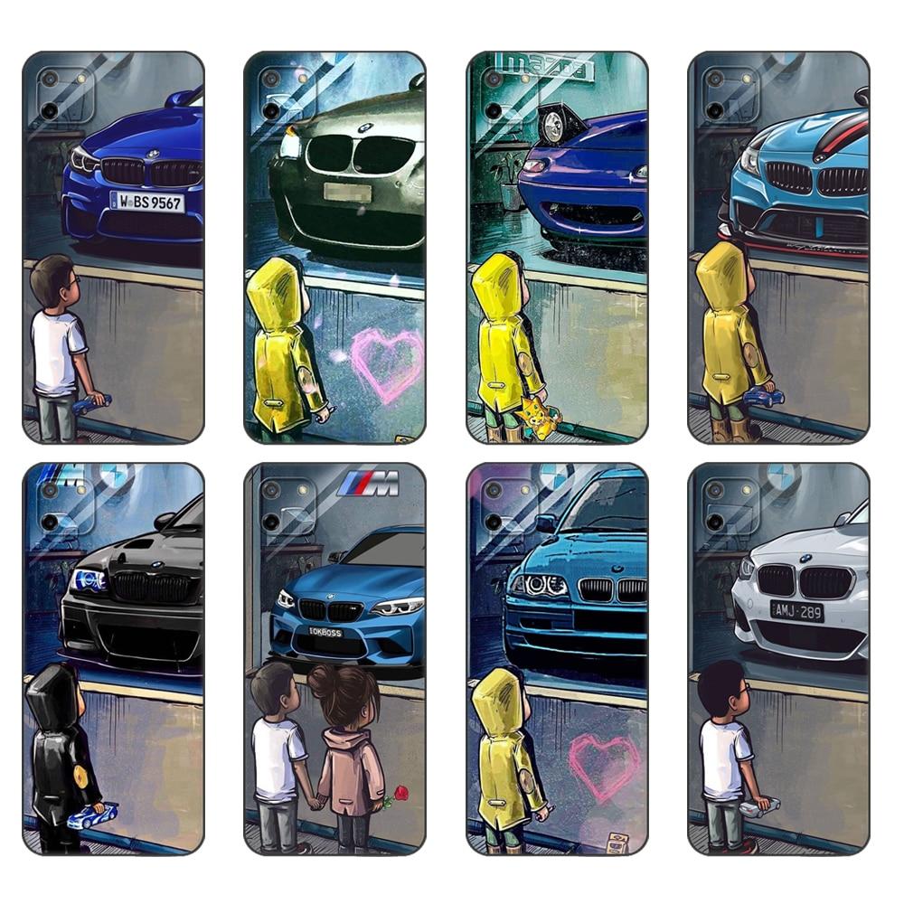 Black tpu Case For OPPO Realme C11 C20 C21 Case Back Cover Bumper Boy Watch Sports Car JDM Drift