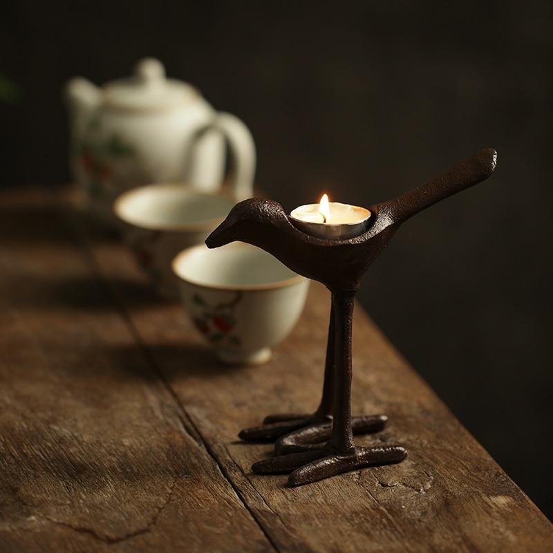 Portavelas personalizado pájaro de lujo Vintage decoración nórdica linternas para velas titulares lindo Farolillo Vela decoración del hogar QAB50ZT