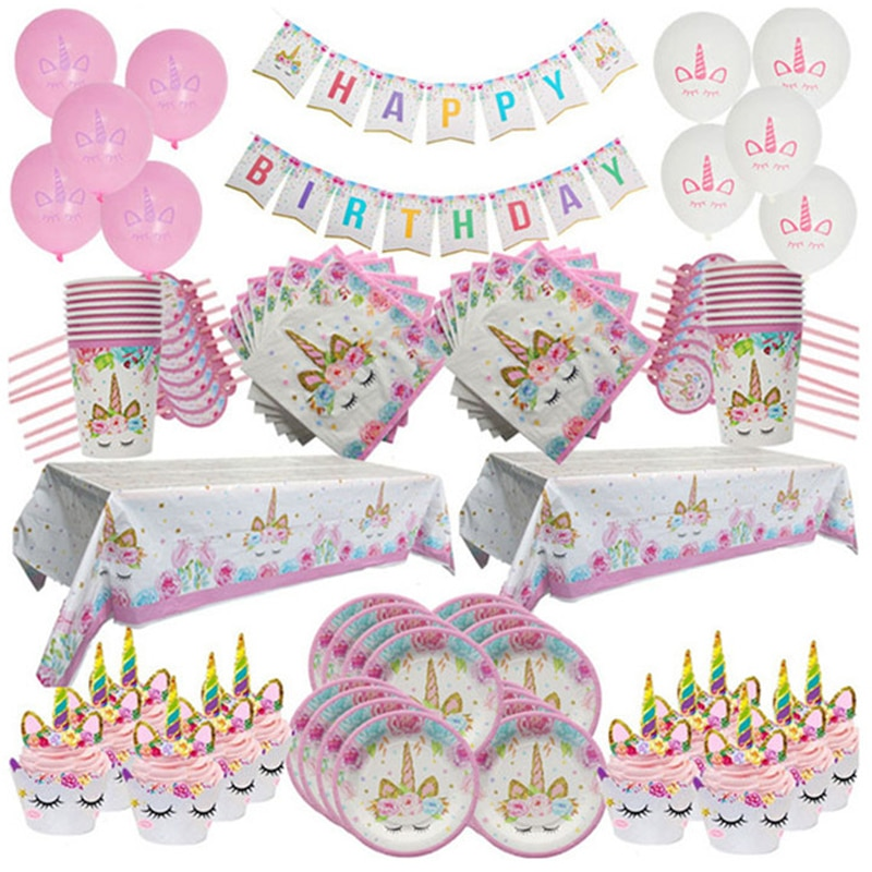 Unicorn Birthday Party Decoration Disposable Plates Tablecloth First Birthday Girl Party Baby Shower Unicornio Party Supplies