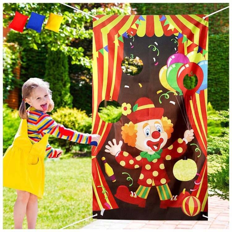 Divertido payaso tirar juego bandera tapiz pared colgante Escuela Hogar jardín fiesta escolar para niños niñas jugar