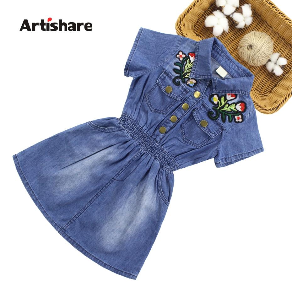 Vestido de Denim para niñas 2020 vestido de verano para niñas bordado de flores vestido de fiesta para niñas adolescentes ropa de verano 6 8 10 12 14