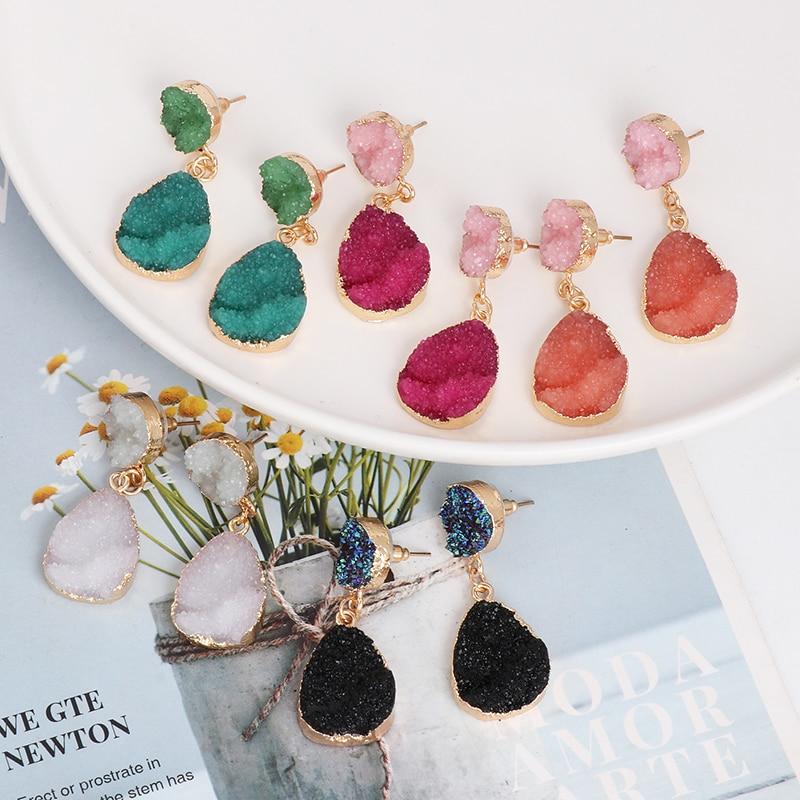 JUJIA Vintage kamień kolczyki z żywicy duże geometryczne kolczyki dla kobiet oświadczenie biżuteria Pendientes Mujer Moda