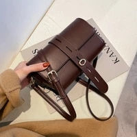 ansloth fashion lady solid color crossbody bags for women pu leather shoulder bags elegant female bags casual personality clutch