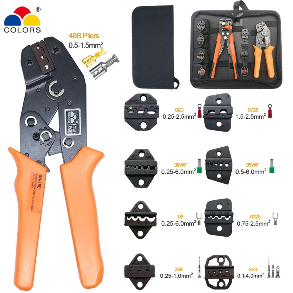 Alicates sn-48b 8 mandíbulas kit para DuPont 2,54/XH2.54/5557/2,8/4,8/6,3/ herramienta prensadora de alambre de terminales de tubo