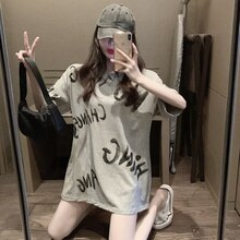 Loose Letters Mid-Length Short Sleeve T-shirt Harajuku Tshirt Vintage Summer Top Korean Clothes Stre