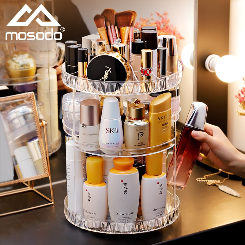 Mosodo Rotating Makeup Organizer Acrylic Box Dresser Cosmetics Storage Rack Skincare Beauty Products