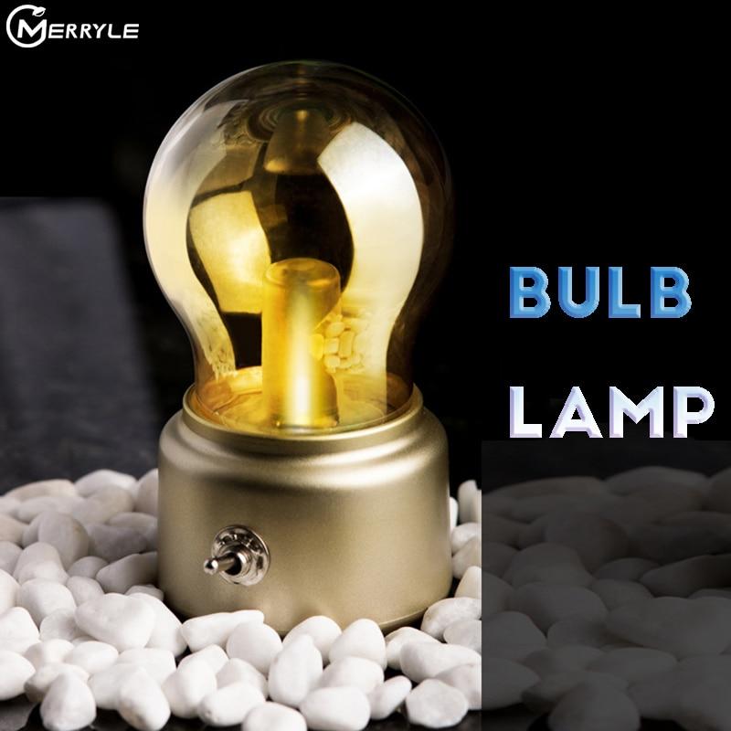Креативная лампа в стиле ретро, лампы для сна с USB-зарядкой, освещение, Декор, окружающий свет, настольные лампы, ночсветильник, металлически...