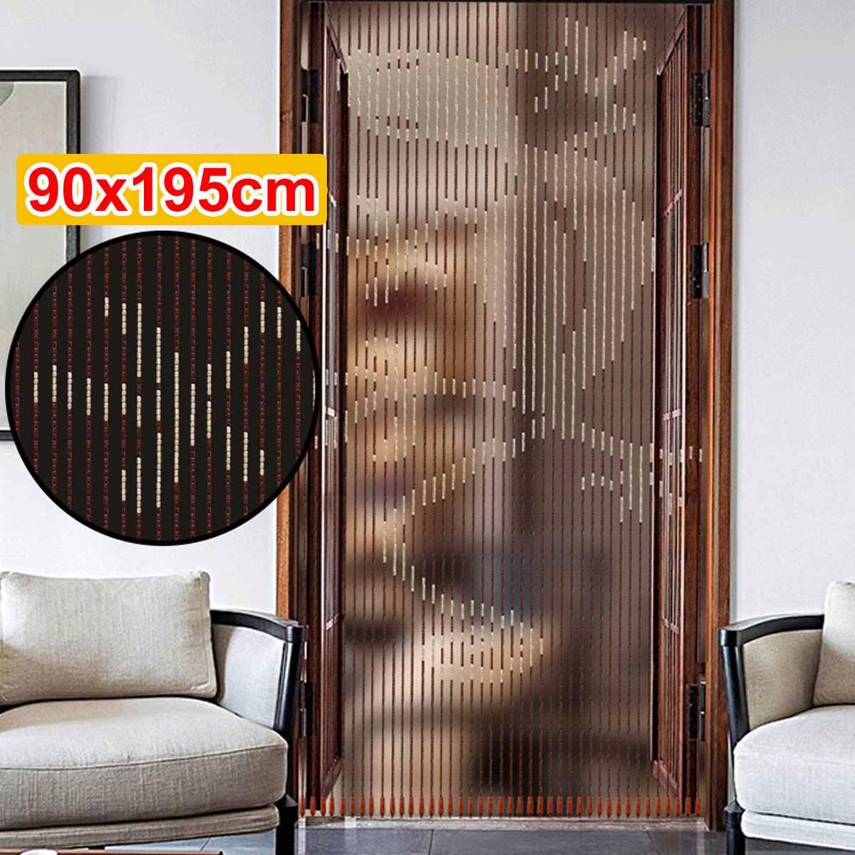Persianas de madera hechas a mano, 90x195cm, 41 líneas, cortinas de cuentas de madera con mosquitera, divisor de puerta para pasillo, sala de estar, puerta o ventana
