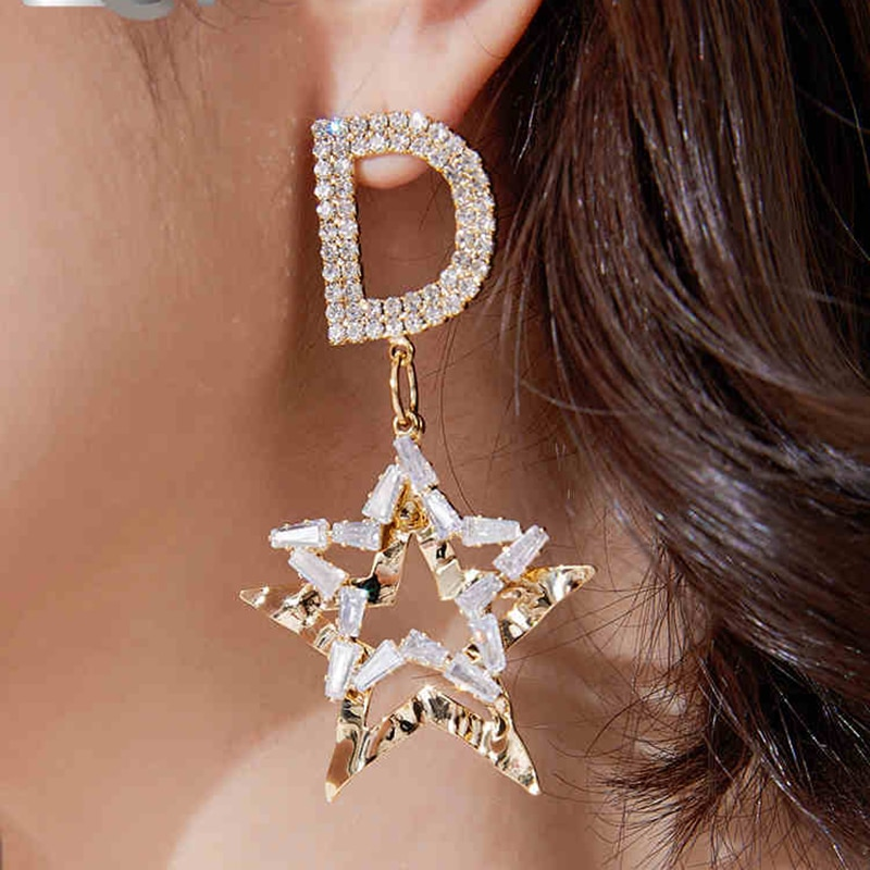Korean Vintage Letter Star Drop Dangle Earrings For Women 2021 Fashion Geometric Wedding Party Jewelry Zircon Statement Earrings  - buy with discount