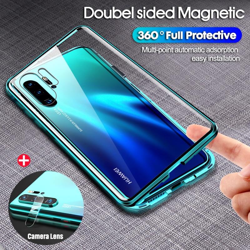 Double face aimant 360 étui de protection pour Huawei P30 Pro P30 P30 Lite verre avant trempé pour Huawei Mate 20 Pro P20 Lite étui