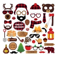 44pcs lumberjack party decorations sets diy mr mrs photobooth props kids happy birthday party favors merry christmas decoration