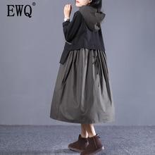 [EWQ] 2020 printemps automne à capuche col à manches longues Hit couleurs Pullvoers décontracté robe ample femmes mode marée AD32901