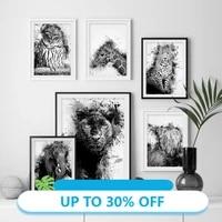 Toile de peinture danimal  affiches dart mural abstraite  hibou  Lion  leopard  pour decoration de salon  decoration de maison