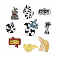 Beetlejuice Pins Collection Halloween Lapel Denim Shirt Jewelry Dark Horror Movie Fan Accessories Goth Jewelry