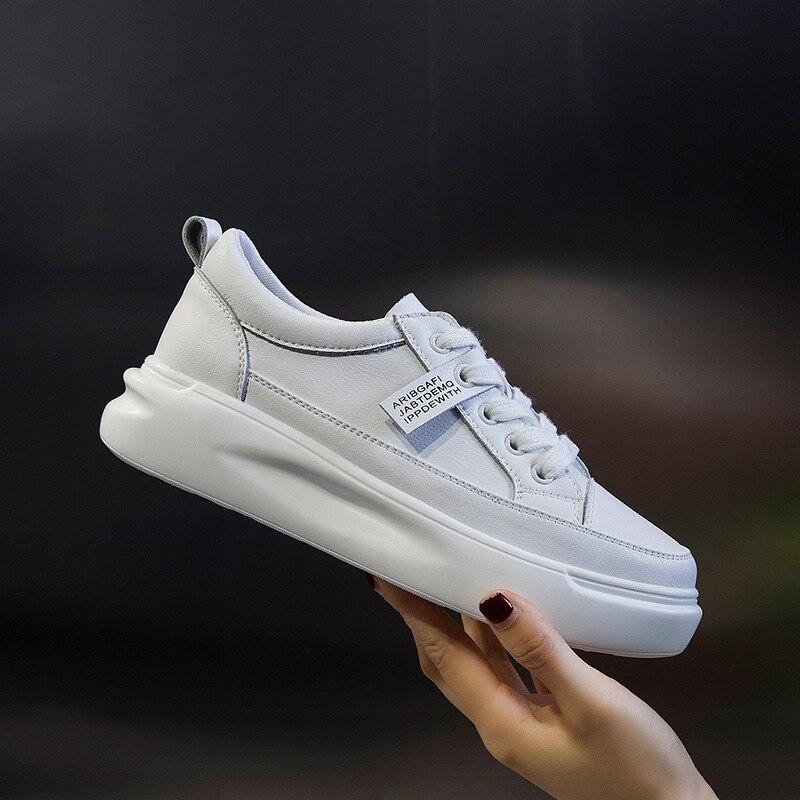 Женские кроссовки на шнурках ZIMNAFR, белые кроссовки из натуральной кожи на платформе, на лето, 2020