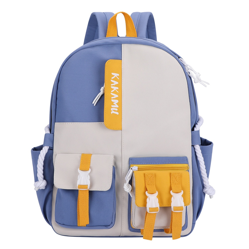 SenkeyStyle Preppy Style Women Backpacks Cream Color Nylon Smooth Waterproof Shoulder Teenager Schoo
