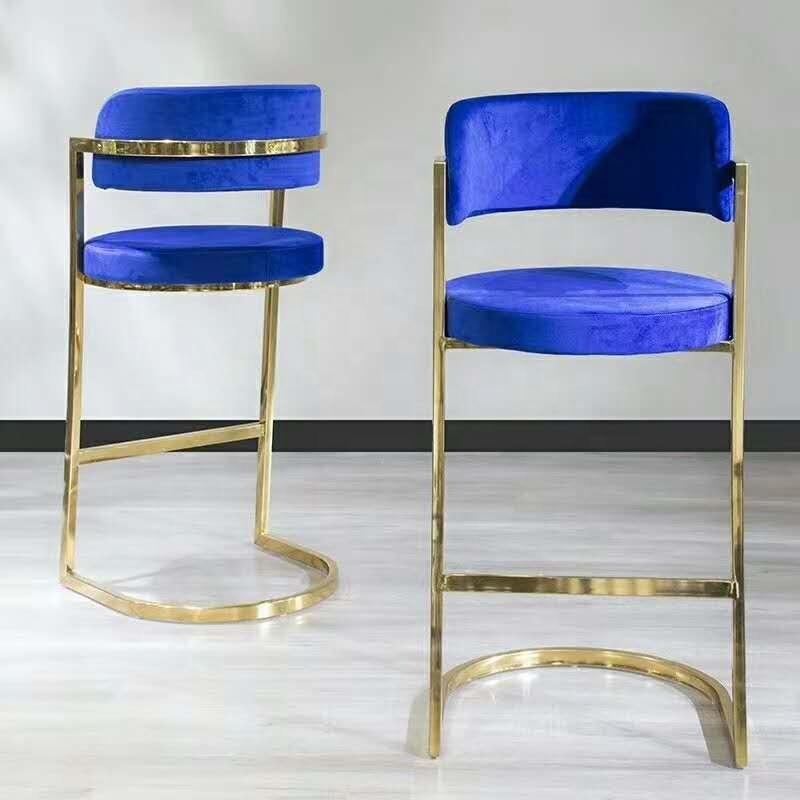 Лидер продаж, современный стул с высокой ножкой, бархатный стул золотого цвета из нержавеющей стали для вечерние, мероприятия, клуба