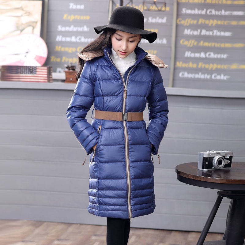 Winter Down Jacket for girls Europe Russia long design  white duck down coats -40℃ Blue warm hooded coat Q704