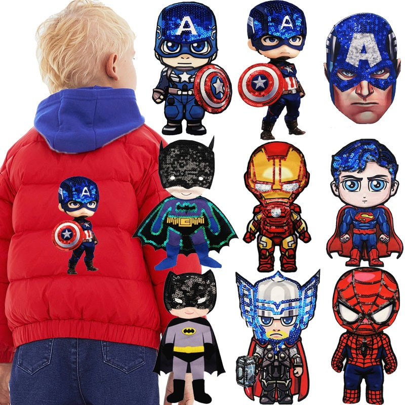 Cartoon Avengers Fabric patches Garment Accessory boy heros embroidery Sewing patch DIY Garment Decoration Sequins Cloth sticker