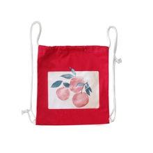 Canvas Ladies Shopping Backpack Cartoon Print Women's Eco-Friendly Folding Shopping Bags Drawstring