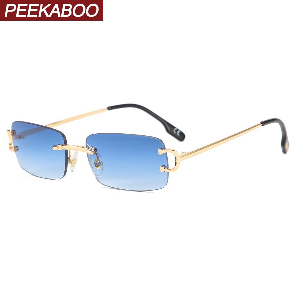 Peekaboo rimless rectangular sunglasses for men gold metal frameless small ladies sun glasses vintag