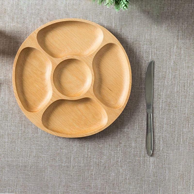 Деревянные закуски, сервировочное блюдо бытовой 5 отделений закуски тарелка для сухих фруктов конфеты поднос круглый разделены блюдо лоток-3