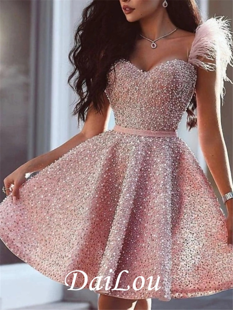 A-Line Glittering Luxurious Homecoming Cocktail Party Valentines Day Dress Sweetheart Sleeveless Short /Mini Satin Beading 2021