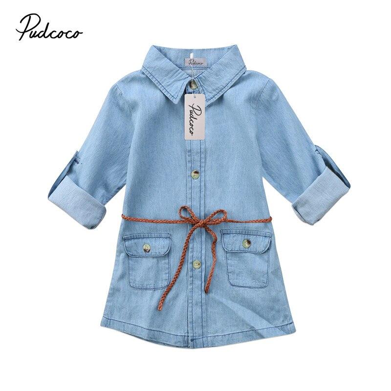 Children Dresses For Girls Kids Girl Clothes Jeans Denim Dresses Summer Long Sleeve Pocket Dresses Loose Mini Denim Dress 2-7T