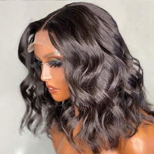 Natural Black Synthetic Lace Front Wig Short Wavy Wig High Tempature Fiber Synthetic Cosplay Wigs For Black Women