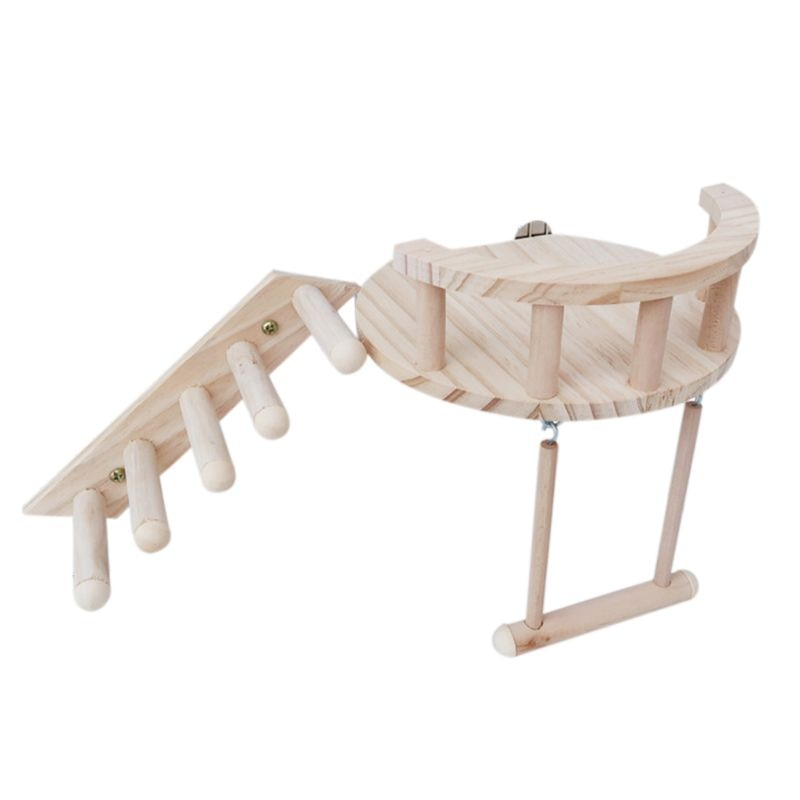 3Pcs Wooden Hamster Platform Small Pet Play Stand Climbing Ladder Swing Cage Toy