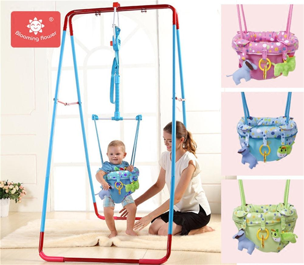 Silla de bebé bloomingflower que rebota, silla de salto para bebé, silla de trampolín de interior con marco de fitness, juguete para regalo de niño