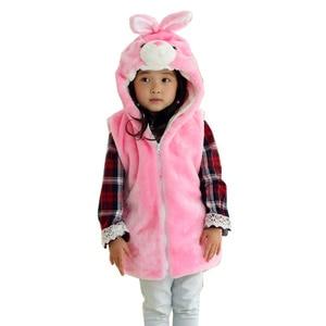 DOUBCHOW Cute Clothing Costume Unisex Children's Cartoon Pink Rabbit Bunny Winter Hooded Kids Girls Boys Plush Outwear Vest Coat