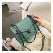 لوندو خمر المسامير سلسلة صندوق مربع جودة عالية بولي Leather جلدية الكتف حقيبة ساعي 2020 موضة جديدة فاخرة العلامة التجارية حقيبة يد