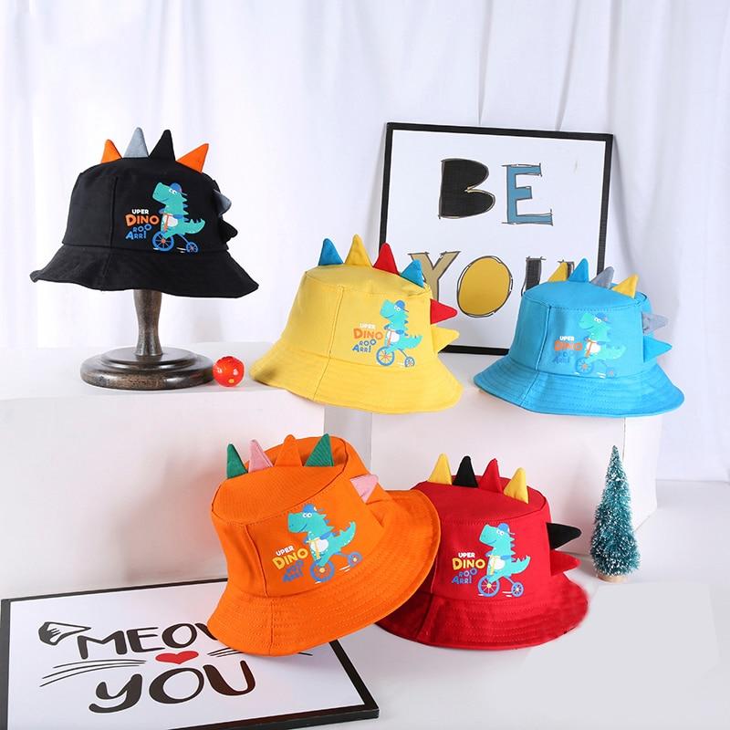 Spring Autumn Baby Bucket Hat Fishing Outdoor Hip Hop Cap Cartoon Dinosaur Baby Girl Boy Fisherman Hat Kids Children Caps