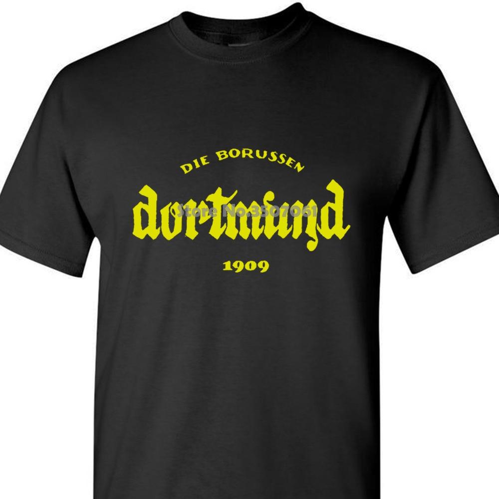 Camiseta estampada de manga larga con cuello redondo para hombre, camisetas de verano invierno, ropa de calle, camiseta de Dortmund, Vintage Black coat clothes tops