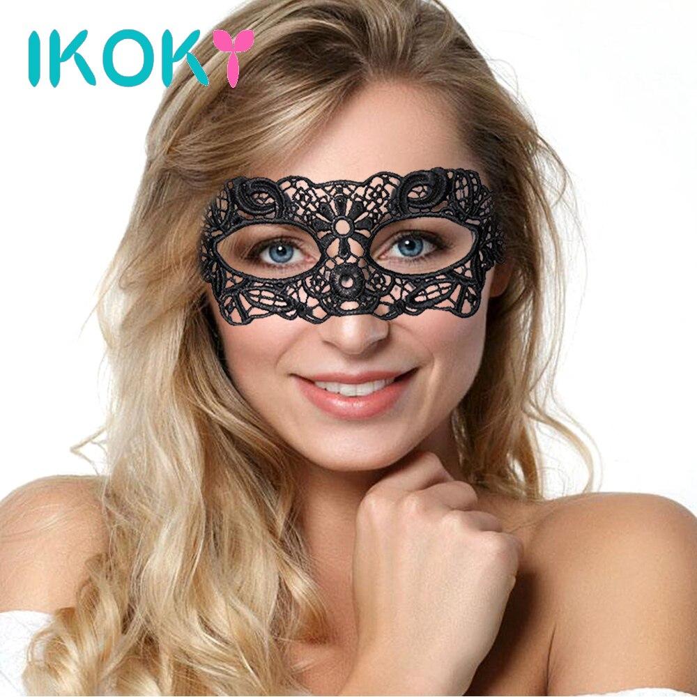 Ikoky gótico preto discoteca dança festa máscara máscara de olho misterioso feminino laço máscara de olho erótico brinquedos sexuais para o casal máscara traje